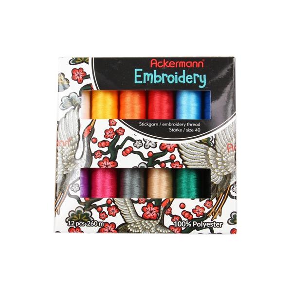 Ackermann Stickgarnset mit 12 Farben